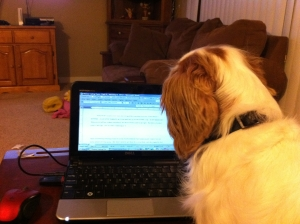 Jack helping me write.