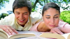 lovestock-footage-happy-couple-reading-novels-together-in-the-countryside